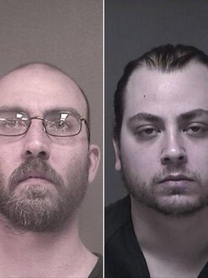 Sean Cannariato, left, and William Adler, right, were arrested on a slew of drug charges after authorities found marijuana plants in a house that caught fire.