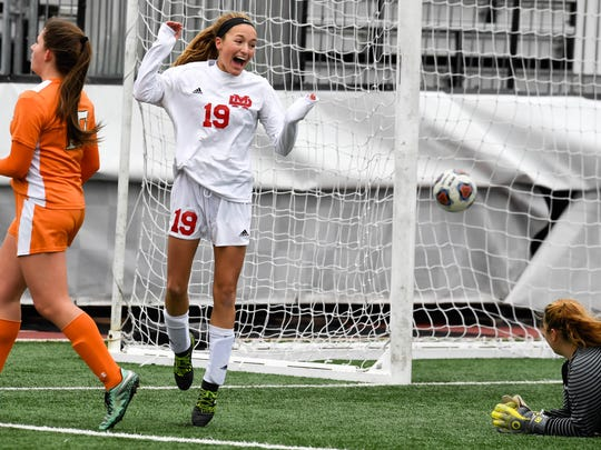 Miranda Nosko (19) after she scored Mater Dei only goal to win the the Class 1A Girls Indiana High School Athletic Association Soccer State Championship at Michael A. Carroll Stadium in Indianapolis Saturday, October 28, 2017.