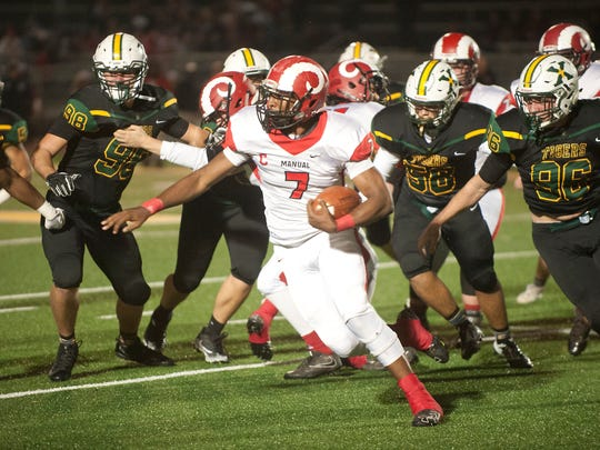 Manual running back Aidan Robbins runs with the ball in 2017 vs. St. Xavier. Robbins has signed with Louisville.