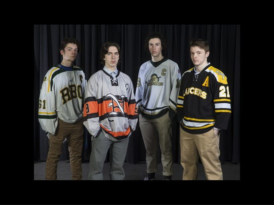 Ciaran McNelis of Red Bank Catholic, Justin Skelly of Middletown North, Thomas Swartwout of Brick Memorial andJohn Gelatt of St. John Vianney. 2018 All-Shore Hockey team.    Neptune, NJ Thursday, March15, 2018 @dhoodhood