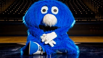 The Blue Blob poses for a portrait at the Cintas Center. If the squad qualifies, the mascot will attend the NCAA tournament with the women's team.