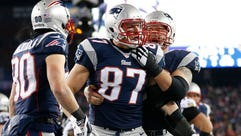 TE Rob Gronkwoski (87) is the Patriots' prime downfield