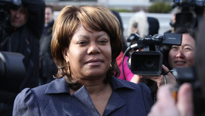 Former Spring Valley Mayor Noramie Jasmin outside U.S. District Court in White Plains after being indicted on federal corruption charges April 2013.