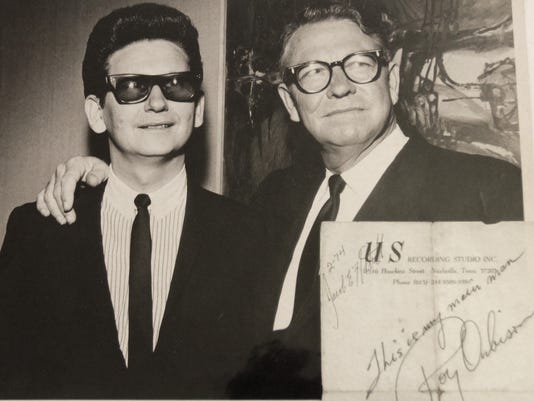 Roy Orbison, right, with his father, Orbie Lee Orbison, in an undated photo. Jake Hottell worked as an engineer at Orbison's Nashville studio in the 1970s.