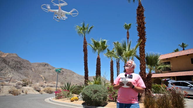 Alan Carvalho flies his DJI Phantom drone for recreation in Cathedral City on July 13, 2015.