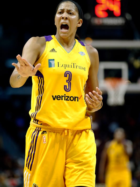 Los Angeles Sparks forward Candace Parker talks to a referee during the second half in Game 4 of the WNBA basketball finals against the Minnesota Lynx, Sunday, Oct. 1, 2017, in Los Angeles. The Lynx won 80-69. (AP Photo/Alex Gallardo)