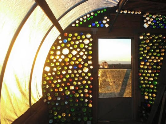 Walls of the first build, Desert Fox, are made up of recycled materials such as glass bottles.