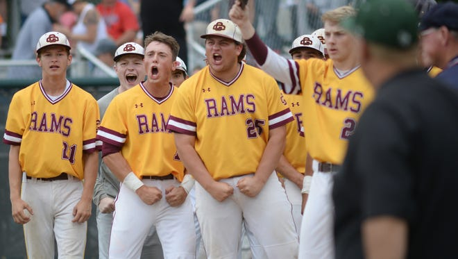 Gloucester Catholic players react after Luke Lesch homers against DePaul Catholic in the state Non-public B baseball final at Veterans Park in Hamilton on Saturday. 06.09.18.