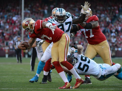 Carolina Panthers middle linebacker Luke Kuechly (59) sacks San Francisco 49ers quarterback Colin Kaepernick (7) during the fourth quarter at Candlestick Park.