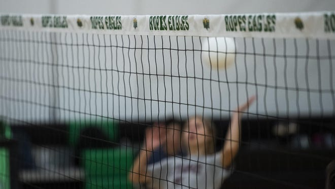 The Ropes volleyball team practices Aug. 3 inside the high school gymnasium in Ropesville, Texas. The 2020 season will be the inaugural season for the Lady Eagles.
