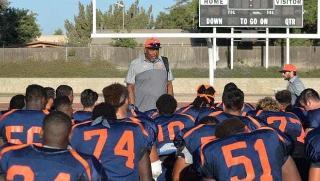 College of the Sequoias head football coach Irv Pankey addresses the team after a game last season The Giants open the 2017 season on Saturday at Contra Costa.
