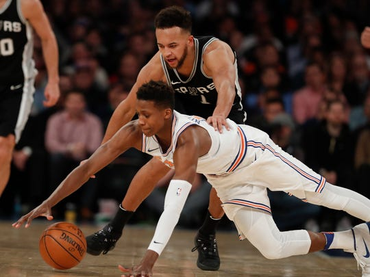 Knicks guard Frank Ntilikina and San Antonio Spurs