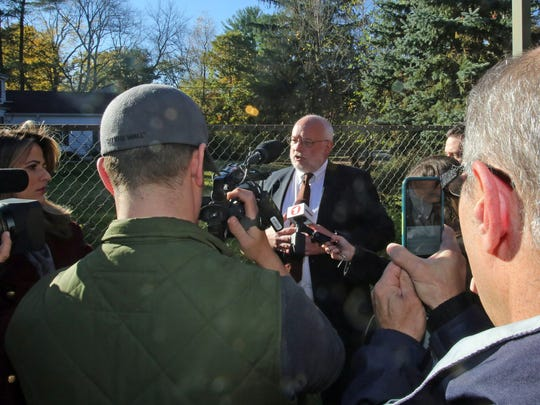 Will Wedge, a Chappaqua parent, holds a news conference Monday on Lyn McKay resigning as superintendent of the Chappaqua school district at Horace Greeley High School.