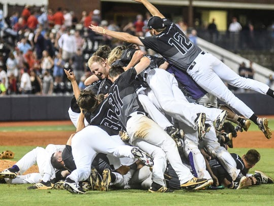 Tennessee Tech celebrates its 3-2 win over Mississippi in the Oxford Regional championship game Monday.