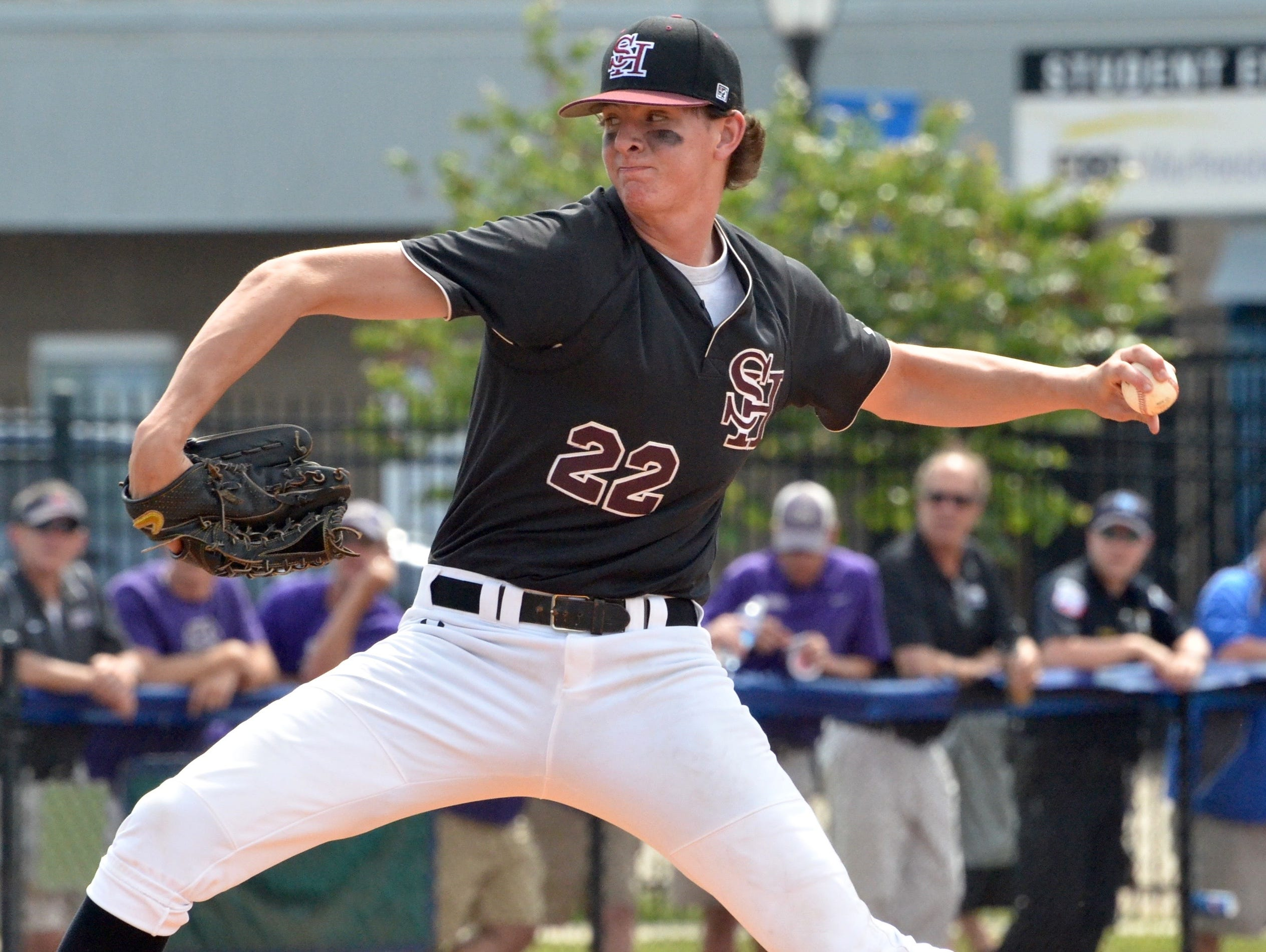 Spring Hill senior and Vanderbilt signee Zach King delivers a fourth-inning pitch during Friday's TSSAA Class AA state baseball championship game at MTSU's Reese Smith Jr. Field.
