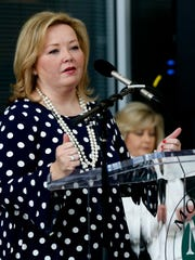 Rutherford County Commissioner Rhonda Allen speaks at the Motlow State Community College groundbreaking ceremony and reception for the 3rd building on the school's Smyrna Campus on Friday March 23, 2018, at the local campus in Smyrna.