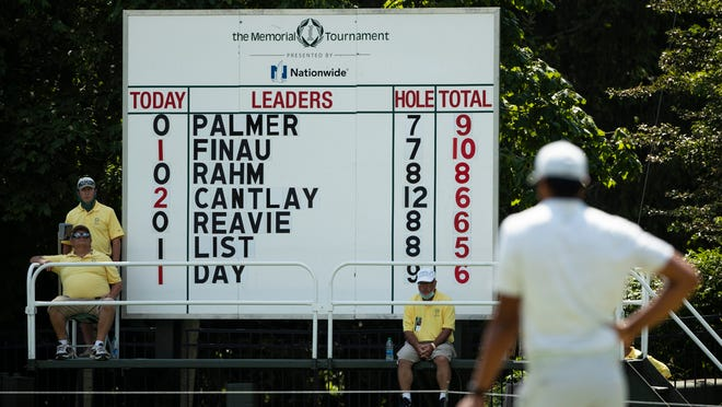 Scoreboard volunteers watch as Tony Finau prepares to putt on 8 during the third round of the Memorial Tournament at Muirfield Village Golf Club in Dublin, Ohio on Saturday, July 18, 2020.