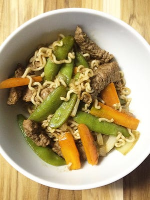 A Japanese-inspired stir fry noodles dish based on the popular entree known as Yakisoba.