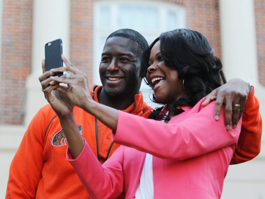 Tallahassee mayor Andrew Gillum takes a selfie
