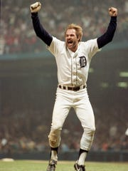 Detroit Tiger Kirk Gibson celebrates one of two home