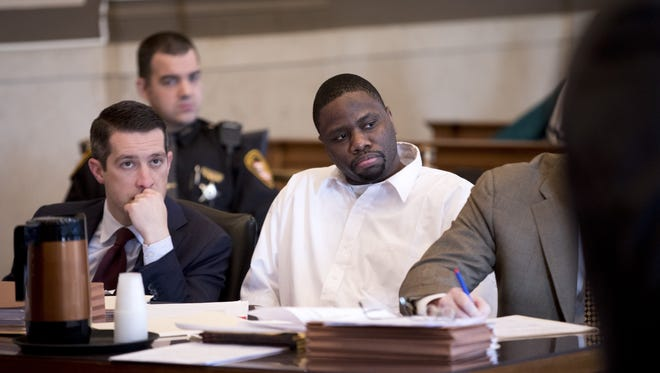 Kayle Taylor, at center, during jury selection Jan. 30, 2018 in his murder trial in Hamilton County Common Pleas Court.
