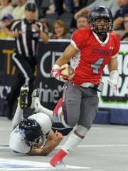 Sioux Falls Storm's Brandon Johnson-Farrell escapes from Cedar Rapids' Philip Welch during the United Conference Championship at the Sanford Premier Center on Sat., June 27, 2015.