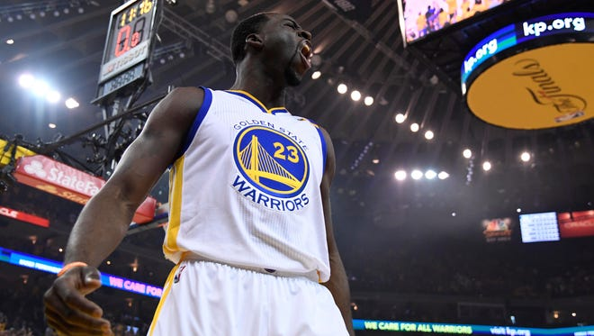Golden State Warriors forward Draymond Green (23) reacts against the Cleveland Cavaliers in the first quarter of Game 1 of the NBA Finals.