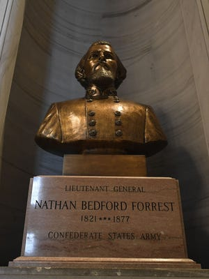 A bust of Confederate Lt. Gen. Nathan Bedford Forrest has been in a nook at Tennessee's state capitol in Nashville since 1978.