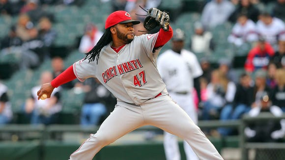 Cincinnati Reds starting pitcher Johnny Cueto (47) delivers a pitch during the ninth inning in game one of a doubleheader against the Chicago White Sox at U.S Cellular Field. Cincinnati won 10-4.