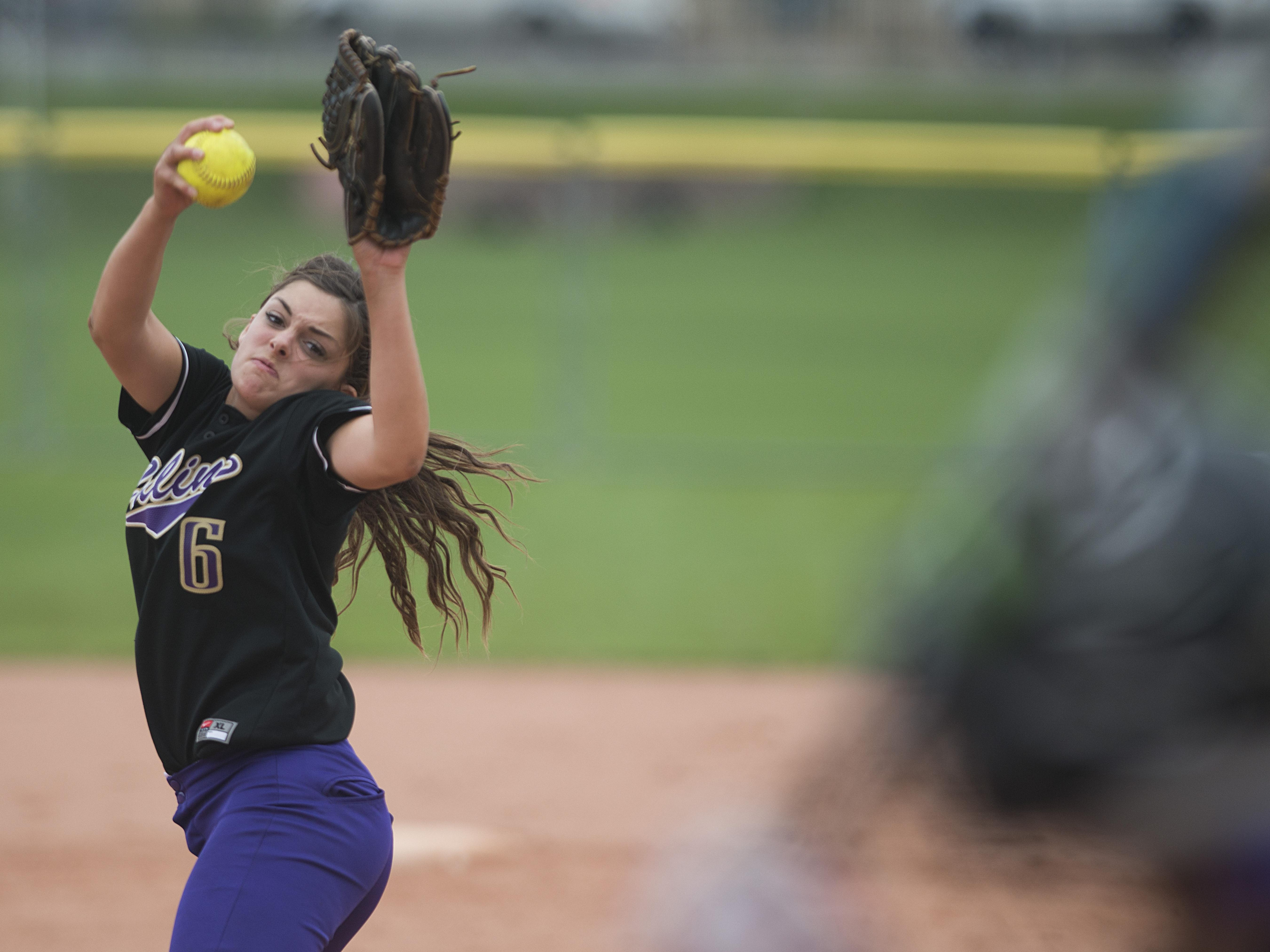 Fort Collins pitcher Ciana Curran in a game earlier this season. Curran is in the top-five among locals in batting average, home runs and strikeouts thrown.