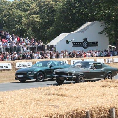 The 2019 Mustang Bullitt rolls alongside the 1968 Mustang