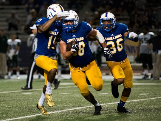 Texas A&M- Kingsville celebrates after recovering a fumble at Javelinas Stadium on Saturday, October 29, 2016. The Javelinas will face Southern Arkansas in the Agent Barry Live United Bowl on Saturday.