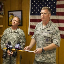 Brigadier General Timothy P. Williams, adjutant General of the Virginia National Guard, left, and Brigadier General Robert Brooks, component commander of the Massachusetts Air National Guard, answer questions from members of the media after announcing that the pilot who had been missing from an F-15 jet that crashed near Deerfield, Va., was found dead Thursday, Aug. 28, 2014.
