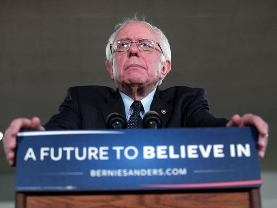 Bernie Sanders speaks at a campaign rally in Dearborn,