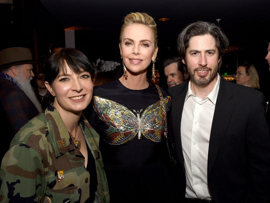 Writer Diablo Cody, left, actress Charlize Theron and