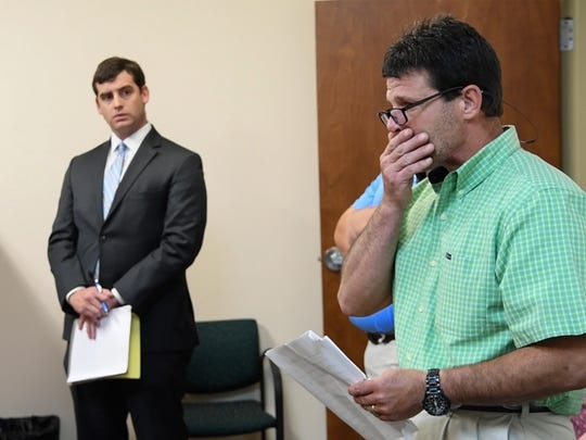Randall Williams, son of George Eugene Williams, 73, of Iva, begins to speak to Judge Carey Murphy in Anderson on Wednesday. Joe Frank Gibert of Anderson County was denied bond by the judge in a case involving a hit-and-run on Flat Rock Road in Starr on Monday.