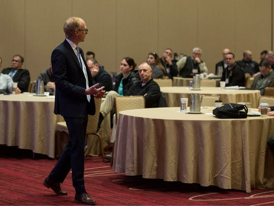 National expert on driving under the influence of marijuana, Chris Halsor addresses those in attendance. A marijuana symposium is held for law enforcement members concentrating on legalization which is expected soon in New Jersey.