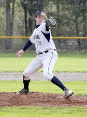 Notre Dame's Ben Cook delivers a pitch to a Newark