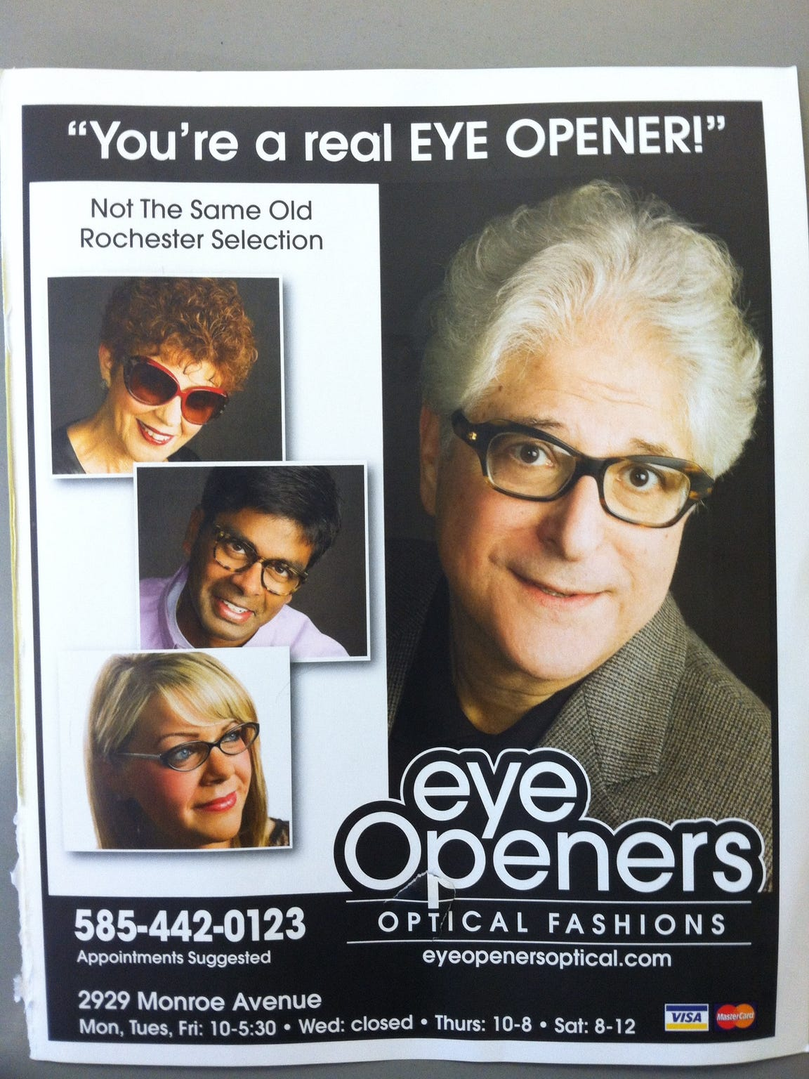 The Eye Openers ad that featured her future husband.