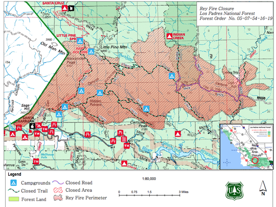 Los Padres officials released a map Friday of the new forest closure related to the Rey Fire.
