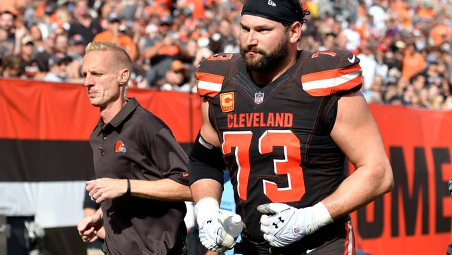Cleveland's Joe Thomas was injured during Sunday's game against the Titans.