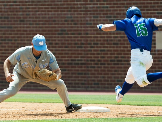 North Carolina's Michael Busch, left, makes a catch
