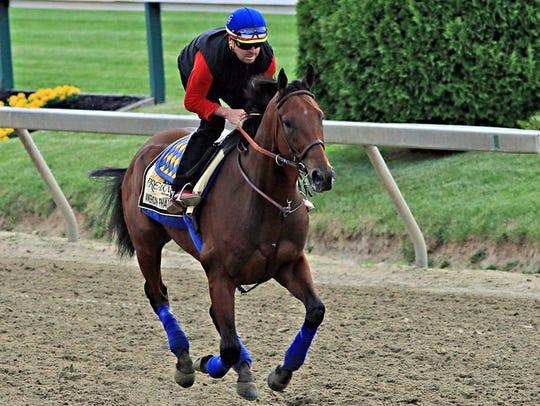 """Exercise rider Jorge Alvarez gallops Preakness Stakes"