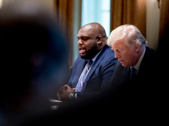 Pastor John Gray and Donald Trump in the White House on Aug. 1, 2018.