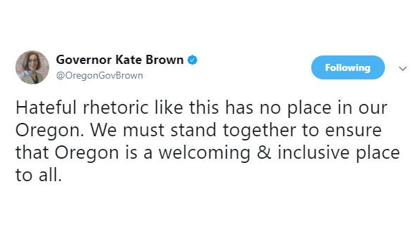 Gov. Kate Brown responds to reports of Anti-Semitic banners posted on an I-5 overpass.