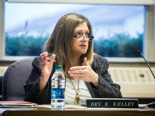 School board member Bev Kelley attends a meeting Tuesday,