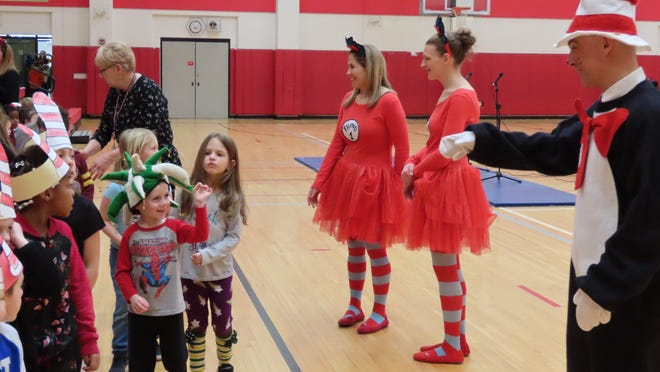 Anna S. Kuhl Elementary School Principal Brett Cancredi brought smiles to students as the Cat in the Hat.