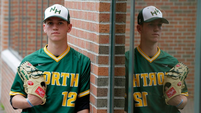 John Wilson of North Hunterdon, All-Area Baseball Player of the Year, poses outside of the Courier News office in Somerville, NJ Thursday June 16, 2016.