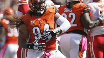 Bengals defensive tackle Domata Peko celebrates after sacking Chiefs quarterback Alex Smith in the second quarter of the Bengals' October 4 victory.