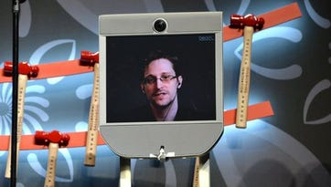 Edward Snowden speaks from Russia to Tribeca Film Festival audience, April 22, 2016.